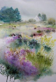 MATIN A FREHEL - Painting,  80x120 cm ©2008 by Reine-Marie PiNCHON -                            Contemporary painting, Frehel lande printemps bretagne cap parc naturel genêts bruyères maison