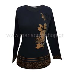 Μπλούζα πλεκτή λουλουδι.Έχει χαμηλή λαιμόκοψη και μακριά μανίκια. Μήκος απο τον ώμο 62εκ., μήκος μανικιού 56εκ.50%wool merinos, 50%acr.Ελληνική ραφή. #knitwear #jumper #womansblouse #plussize #mariannaclothing Jumpers, Knitwear, Blouses, Long Sleeve, Sleeves, Sweaters, Mens Tops, T Shirt, Shopping
