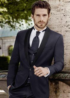 1adc20fd9b latest Coat Pant Designs Navy Blue Shawl Lapel Satin Wedding Suit for Men  Custom Tuxedo Blazer Slim Fit 3 Piece Vestidos Terno F