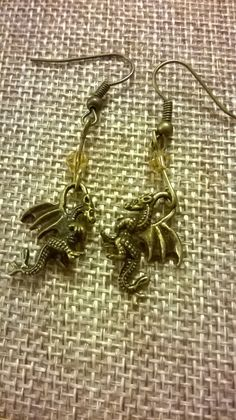 Small dangly dragon earrings with crystal bead. Jewellery Earrings, Jewelry, Crystal Beads, Crystals, Gothic, Dragon, Bronze, Etsy Shop, Yellow
