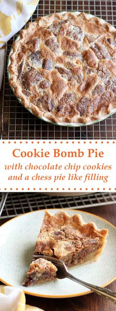 This Cookie Bomb Pie is modeled after the Baltimore Bomb Pie. It has a decadent filling using chocolate chip cookies and a buttery custard. | wildwildwhisk.com