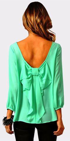 Cute mint waldorf bow blouse fashion | HIGH RISE FASHION