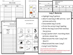Long I Literacy Center Activities & Worksheets  http://www.teacherspayteachers.com/Product/Long-I-vowel-sound-literacy-center-activities-worksheets