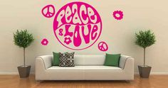 Peace and Love wall decal Removable Wall Decals, Vinyl Wall Decals, Wall Stickers, Center Signs, Guitar Wall, Cartoon Wall, Music Wall, Love Wall, Decorate Your Room