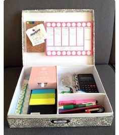DIY SCHOOL ORGANISER ACTIVE BOX :   A good idea for a weekly study box to hot glue your cork board and stick your important sticky notes on there with push pins or using chalk board or white board on there to make it awesome however you want it to be and for the box you can make the dividers or buy them and stick them in there and store all your chalk or whiteboard marker depending on what you use or your everyday essentials like keys and ect
