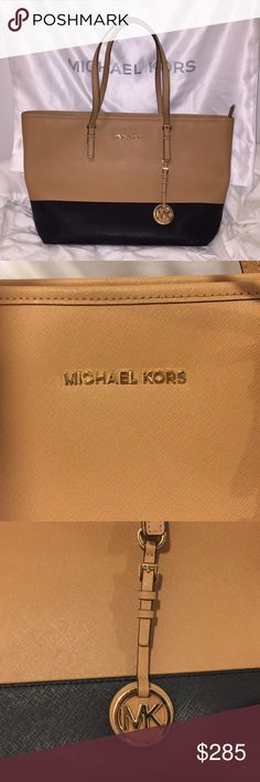 Authentic Michael Kors Suntan/Black Tote Authentic Michael Kors Suntan/Black Tote. It's made out of leather, GENTLY USED, it is in great condition. Pictures show little imperfections on the inside of the bag. This has been my absolute favorite Michael Kors bag I have ever owned! The outside is almost like new! It comes with a Michael Kors dust bag as well. It has always been kept in that dust bag unless I was wearing it.   ****PLEASE look at pictures 3-6 thoroughly! That is exact bag you…
