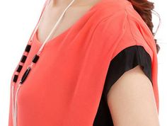 Sweet Color Block Short Sleeve T Shirt for Lady