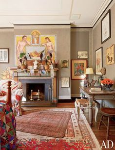 Andrea Anson's Manhattan Townhouse is filled with family heirlooms and antique treasures