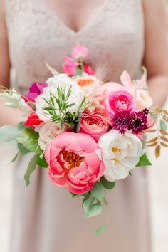 Pink + Peony = PERFECTION! Bridesmaid's Bouquet by BudsNBloom.com | Maison Meredith Photography See More of these beauties on SMP: http://www.StyleMePretty.com/wisconsin-weddings/waupaca/2016/09/10/garden-inspired-midwest-wedding/