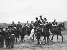 Tsar Nicholas ll of Russia and Grand Duke Konstantin Konstantinovich Romanov of Russia at the parade on the Field of Mars,St Petersburg,Russia.A♥W
