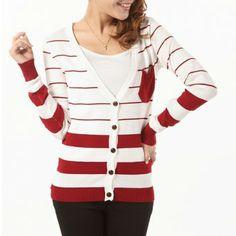 Sweet Style V-Neck Single-Breasted Stripe Design Front Pocket Long Sleeves Knitwear For Women