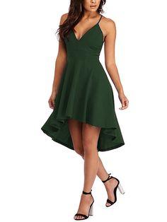 Army Green Cut Out & Lace Back Irregular Hem Dress