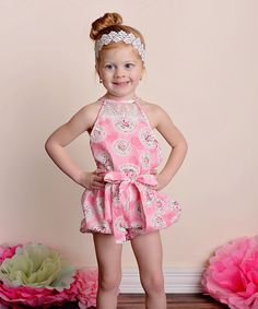 Another great find on #zulily! Pink Floral Country Girl Bubble Romper - Toddler & Girls by Just Couture #zulilyfinds