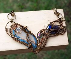 Heavenly Blue and Purple Charming Necklace Blue Druzy Geode Agate Amethyst Stone #Jeanninehandmade #Wrap