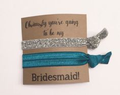 Bridesmaid hair tie favor//hair tie cardparty favor