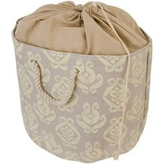 Raymond Waites Drawstring Sealable Laundry Tote With Rope Handle Large Beige And Brown Home Kitchen