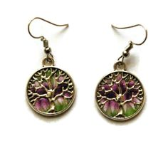 boucles d'oreilles arbre de vie violet et vert Violet, Drop Earrings, Jewelry, Fashion, Tree Of Life, Boucle D'oreille, Green, Fimo, Accessories