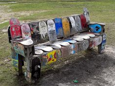Bench For the yard where teens live -- a yard bench from old skate boards!For the yard where teens live -- a yard bench from old skate boards!