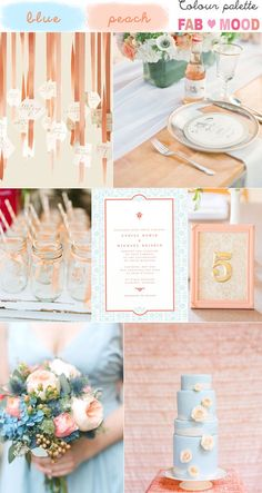 blue peach wedding colour mood board