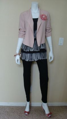 "Daily Look: CAbi Spring '12 Sateen Bree, Dazzle Tunic and ""It"" Jacket with patent pumps with a bow at the toe and funky faux pearl jewelry."