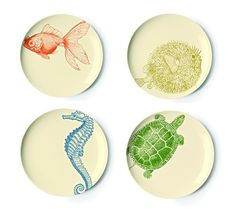 Set of Four Sealife Collection Assorted Dessert Plates design by Thomas Paul