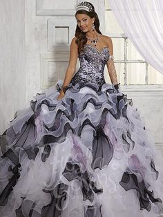 Fiesta Gowns 56258 White/Black/Lilac