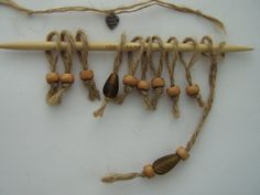 Jute and wooden bead stitch markers