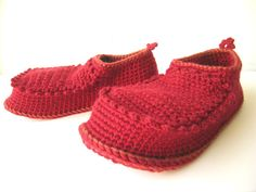fun and funny!   House Shoes with Leather Sole in dark red and rust by leninka, $75.00