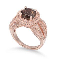Suzy Levian Sterling Silver 4.37 cttw Smokey Quartz Ring