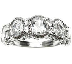 Judith Ripka Sterling 4.15ct Round & Oval Diamonique Band Rin