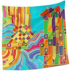 Summer City Square Silk Scarf 21.5 in x 21.5 in by FineArtSilk