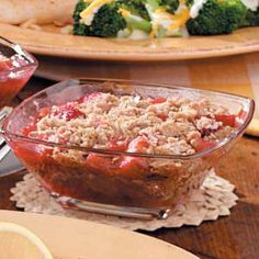 Rhubarb Crisp  This sounds great!  Could probably add strawberries and less sugar to make it less/more tart depending on your preference.  May have to make for June 1; Dad's birthday.  He loves rhubarb.