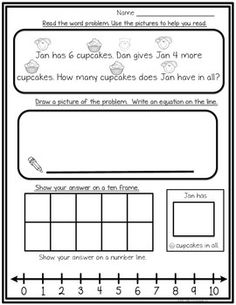 Here's a free page from Addition Word Problem Within 10 Click here for the full productClick hereStudents show the answer to the problem using multiple strategies such as a ten-frame, drawing a picture and using a number line, highlighting math vocabulary words (i.e., in all, altogether, take away, left) and writing the answer as an equation.
