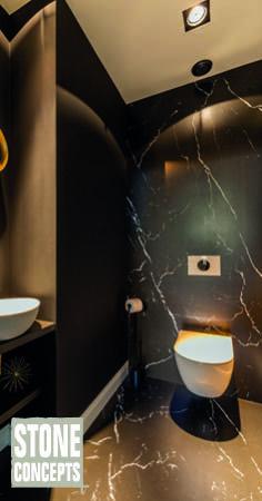 Badkamer met marmerlook Sanisale - product in beeld - Homepagina badkamers . Badkamer met marmerlook Sanisale - product in beeld - Homepagina f . Bathroom Mirror Design, Washroom Design, Best Bathroom Designs, Bathroom Design Luxury, Guest Toilet, New Toilet, Luxury Toilet, Art Deco Living Room, Black Toilet