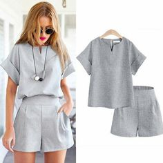 Find More Women's Sets Information about 2017 Women Summer Style Casual Cotton Linen Top Shirt Feminine Pure Color Female Office Suit Set Women's Costumes Hot Short Sets,High Quality short set,China set women Suppliers, Cheap suit set women from quality p Shorts Style, Mode Outfits, Fashion Outfits, Womens Fashion, Fashion Clothes, Fashion Trends, Short Suit, Short Tops, Women's Summer Fashion