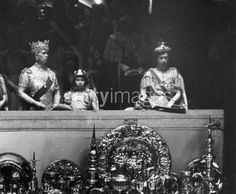 Another from the 1937 Coronation, with Queen Mary in the Regal Circlet, the tiny Princess Elizabeth in her coronet, and Princess Mary in her sapphire tiara