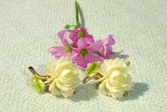 RARE Art Deco Bone Rose Clip on Earrings #Cluster