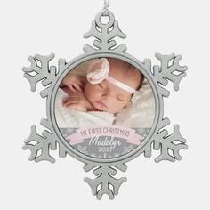 First Christmas Light Pink Baby Girl Photo Snowflake Pewter Christmas Ornament - tap, personalize, buy right now! #SnowflakePewterChristmasOrnament #babys #first #christmas, #baby, #photo,
