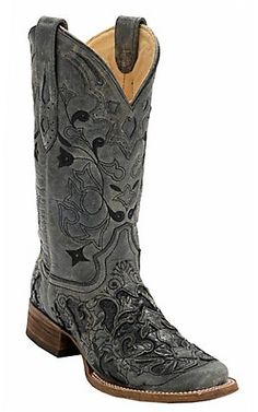 Corral® Womens Distress Black w/ Black Caiman Inlay Square Toe Western Boots | Cavenders Boot City
