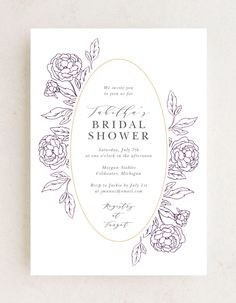 Peony Border Bridal Shower Invitations feature a soft white background, purple outlined peonies, and a gold foil frame encircling your event details. Choose from more than 160 color options, over 100 distinctive fonts, and editable text to transform your chosen template into the invitation of your dreams. #elegantbridalshowerinvites #weddingshowerinvitations #floralbridalshowerinvitations Flower Cake Decorations, Bridal Party Invitations, Wedding Trends, Wedding Ideas, Elegant Bridal Shower, Summer Wedding Colors, Simple Weddings, Gold Foil, Colorful Flowers