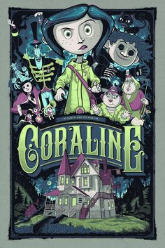 illustration tim burton movie posters 'Kubo And The Two Strings' And 'Coraline' Prints From Mondo Coraline Jones, Coraline Movie, Coraline Art, Art Tim Burton, Tim Burton Kunst, Tim Burton Films, Tim Burton Characters, Laika Studios, Vintage Posters