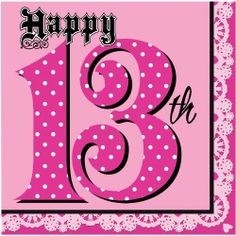 """Happy 13th Super Stylish Lunch Napkins- Pink Birthday Party Tableware 16pk by Creative Converting. $4.31. (16) super stylish lunch napkins. Great for celebrating that special 13th birthday!. These lunch napkins are perfect for celebrating your 13th birthday in style! This Super Stylish design features a pink napkin with a big """"13"""" with polka dots and the word """"Happy"""" in a cool gothic font! These napkins are pair well with other tableware items and are sure to hold up to eve..."""
