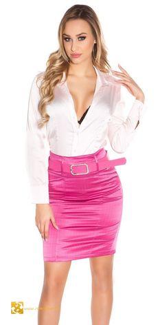 Csíkos elegáns szoknya övvel magas derékkal 5 színben (S,M,L,XL) Sexy Blouse, Blouse And Skirt, Tight Dresses, Sexy Dresses, Pinker Rock, Cute Skirts, Mini Skirts, Secretary Outfits, Satin Blouses