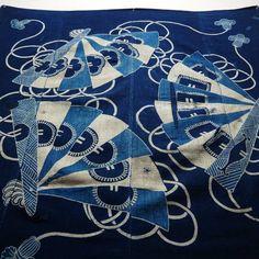 Antique Japanese Boro Indigo Cotton Tsutsugaki Furoshiki