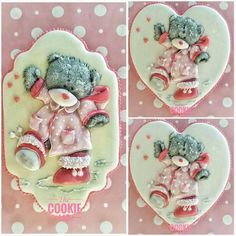 Cookies made to little girls (nieces) with coloured Royal icing. For these Tatty Bears I used my Tridimensional piping style with coloured to give it a more real effect. Hope you like them! Fancy Cookies, Iced Cookies, Royal Icing Cookies, Sugar Cookies, Cookie Icing, Gingerbread House Icing, Biscuit Decoration, Patisserie Design, Teddy Bear Cookies