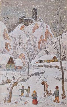 Zlenice in Winter, 1942 Andersen's Fairy Tales, Snow Scenes, Christmas Traditions, Illustrators, Folk Art, Illustration Art, Siena, Retro, Drawings