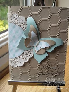 Stampin Up UK Demonstrator UK Pegcraftalot Order Stampin Up HERE: Beautiful Butterflies and Honeycomb Embossing Folder