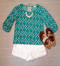 Top  necklace- Francesca's Shorts- Forever 21 Shoes- Jack Rogers
