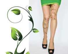 Poison Ivy Tattoo Tights , Green Ivy Leafs Print , Handprinted  Womens Pantyhose , S-XXL Sizes Available , Poison Ivy Printed Tights