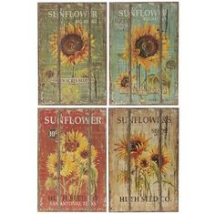 Distressed wooden Sunflower Seed prints.